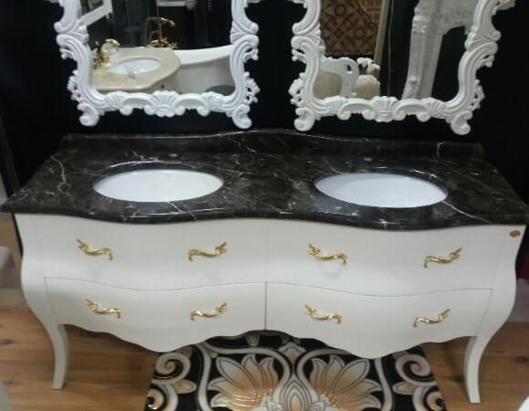 Напольная классическая мебель в ванную комнату NS 06 на два умывальника от производителя Годи (Китай)