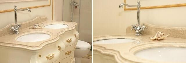 Классическая тумбаNS-33 с зеркалом в резной раме от китайского производителя элитной ванной мебели Godi.