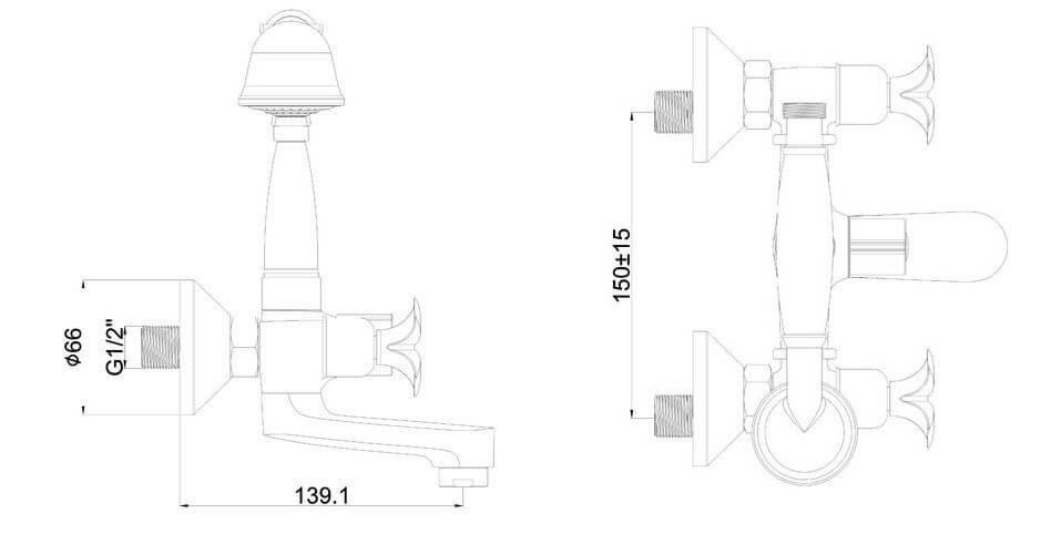 SHRUDER KNIGHT MV1501-SS - двухвентельный смеситель с коротким изливом