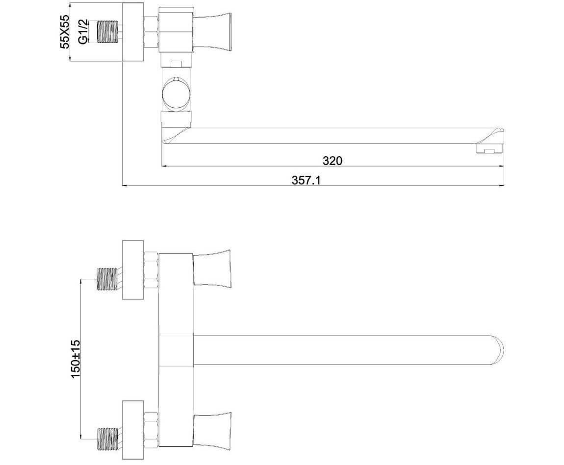 Смеситель для ванн SHRUDER SQUARE MR6005B-ND