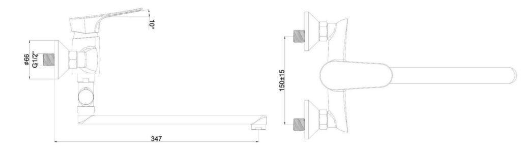 Смеситель хром с длинным проливом SHRUDER KELN MR8005B-ND