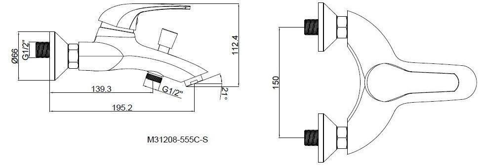 Стильный смеситель в ванную SHRUDER BERN MR7001