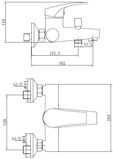 схема-чертеж смесителя SHRUDER DELIS MR5001