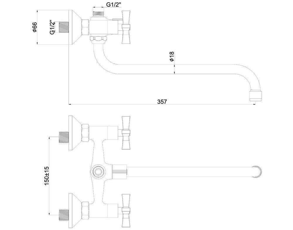 Смеситель для ванной SHRUDER WIND MM335B-SS