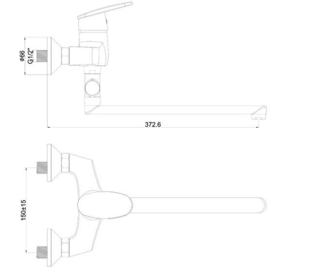 схема Смеситель однорычажный для ванной, купить Киев SHRUDER JASMINE MK2005B