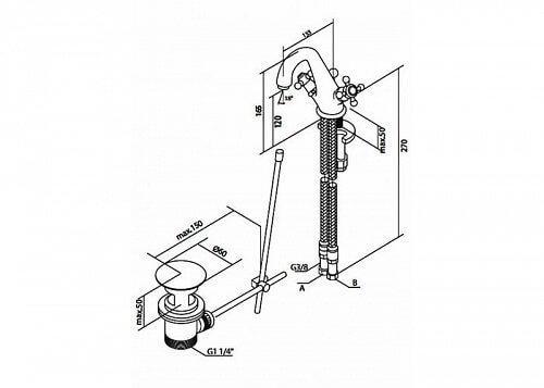 Схема монтажа Смеситель для раковины AM.PM 5 O'Clock F2582100