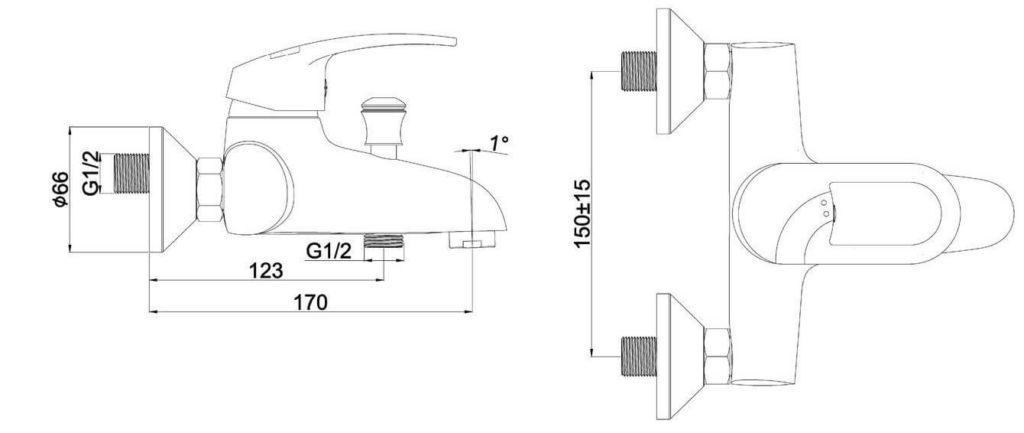 Однорычажный смеситель для ванны SHRUDER FLEUR ML2001