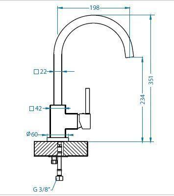 Габаритные размеры кухонного смесителя A1002100: