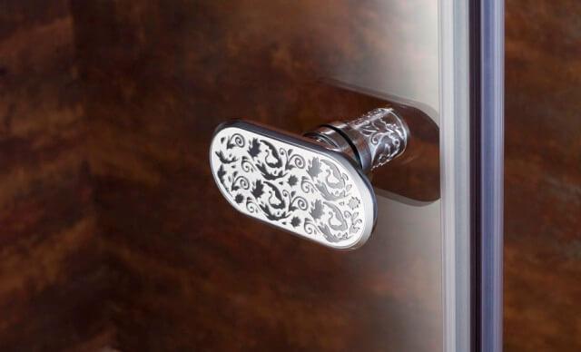 Душевая кабина стеклянная, пятиугольная - Yatin Carving (хром)