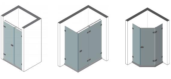 схематическое изображение душевых кабин