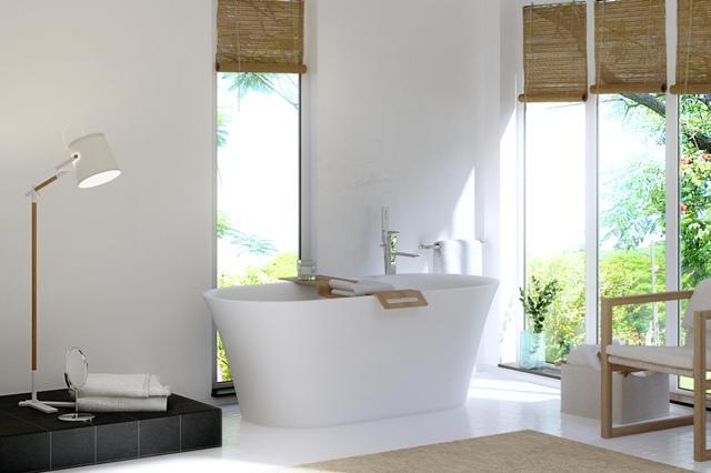 Отдельностоящая ванна в интерьере белого цвета
