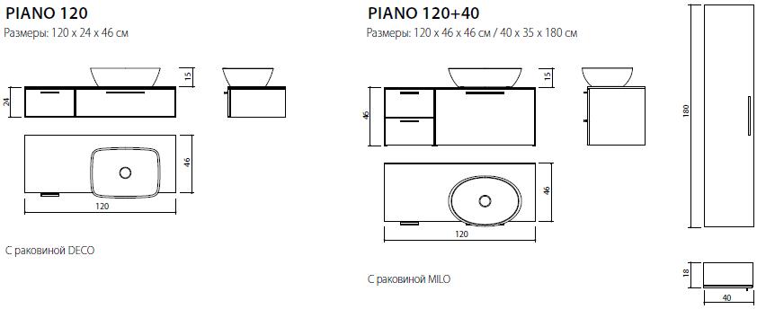 схема-чертеж комплекта Пиано