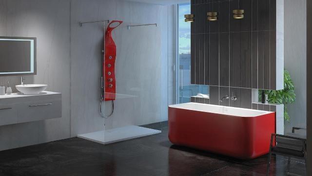 Красная ванна в интерьере ванной комнаты, все продумано до мелочей!