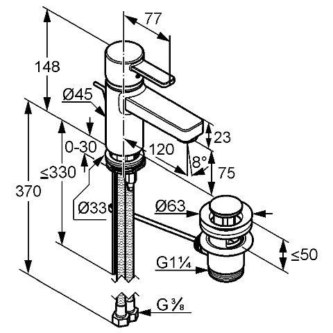 Размерами смесителя для раковины Kludi Zenta XL