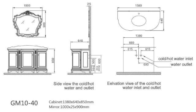 Godi GM 1040 - гарнитур для ванной комнаты, Anti-White