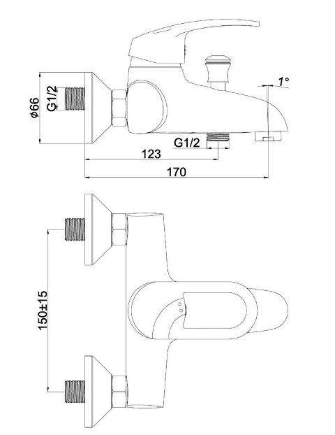 Смеситель настенного монтажа для ванны SHRUDER Fleur ML2001
