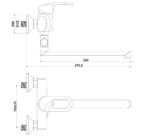 Смеситель с длинным поворотным изивом для ванны SHRUDER FLEUR ML2005B