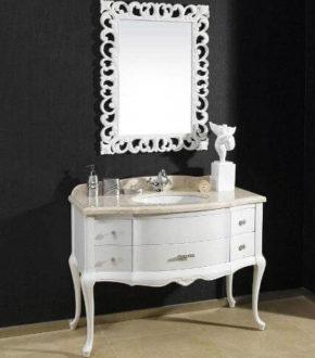 Классическая тумба в ванную с зеркалом, Godi NS 15A White Gloset