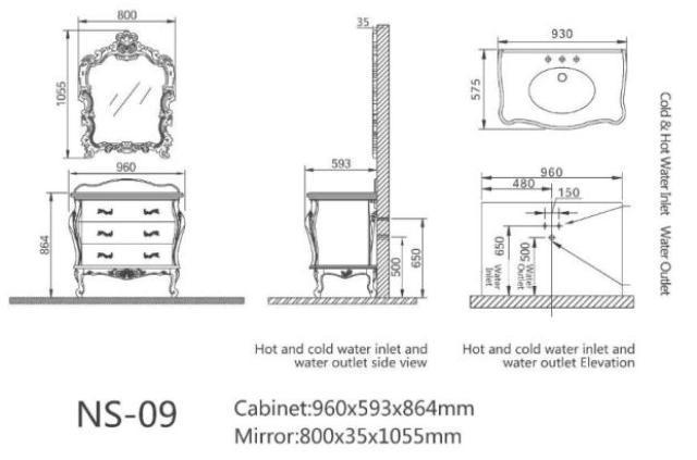 Гарнитур с раковиной в ванную комнату - Godi - NS 09