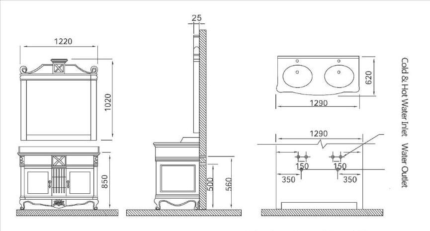 Описание и чертежи комплекта в ванную Godi GM 10-11