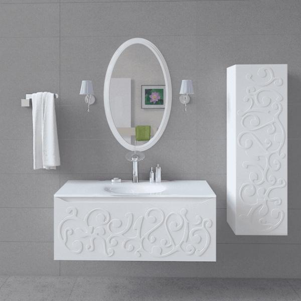 Тумба с зеркалом ЛЭД, пеннал для ванной комнаты Марсан