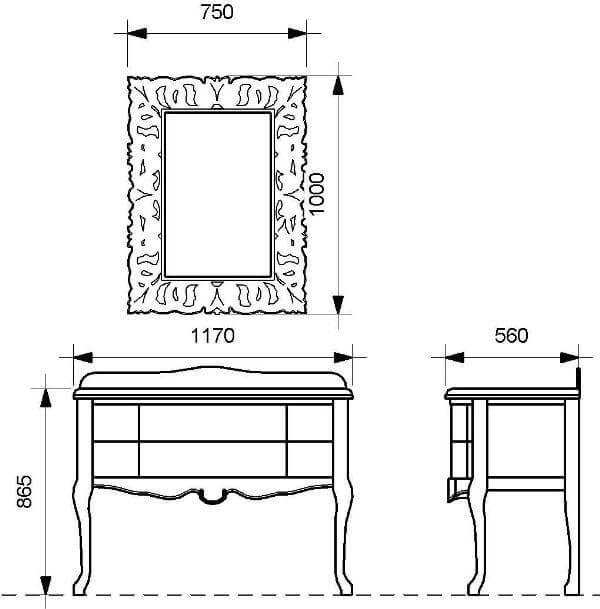 Чертежи комплекта мебели в ванную ANGELIQUE (Марсан)