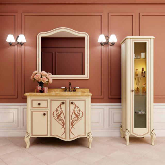 ТумбаMELISSA (Marsan) - в ванную комнату с раковиной и зеркалом (гарнитур)