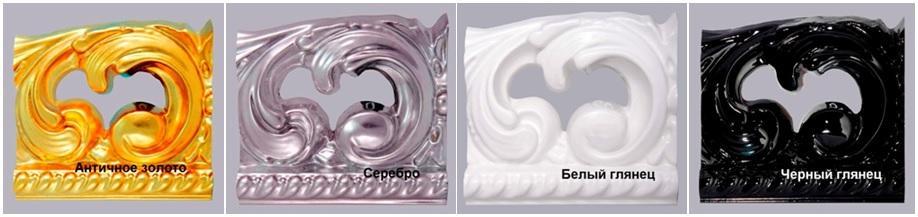 Комплект мебели «ANGELIQUE» цвета зеркала: античное золото, серебро, белый и черный;