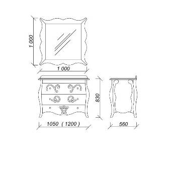 ARLETTE - классический гарнитур с раковиной и зеркалом (Марсан)