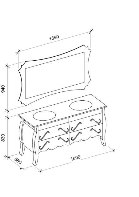 Чертежи и размеры гарнитура для ванной комнаты Dianne (Диана) Marsan