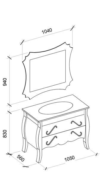 Все возможные размеры гарнитура для ванной комнаты Dianne (Диана) Marsan
