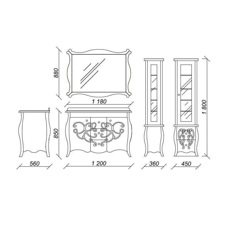 Размеры гарнитура в классическом стиле для ванной комнаты Бернард (Bernarde) Marsan