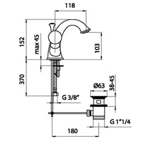Схема и размеры крана для умывальника Webert KA700102