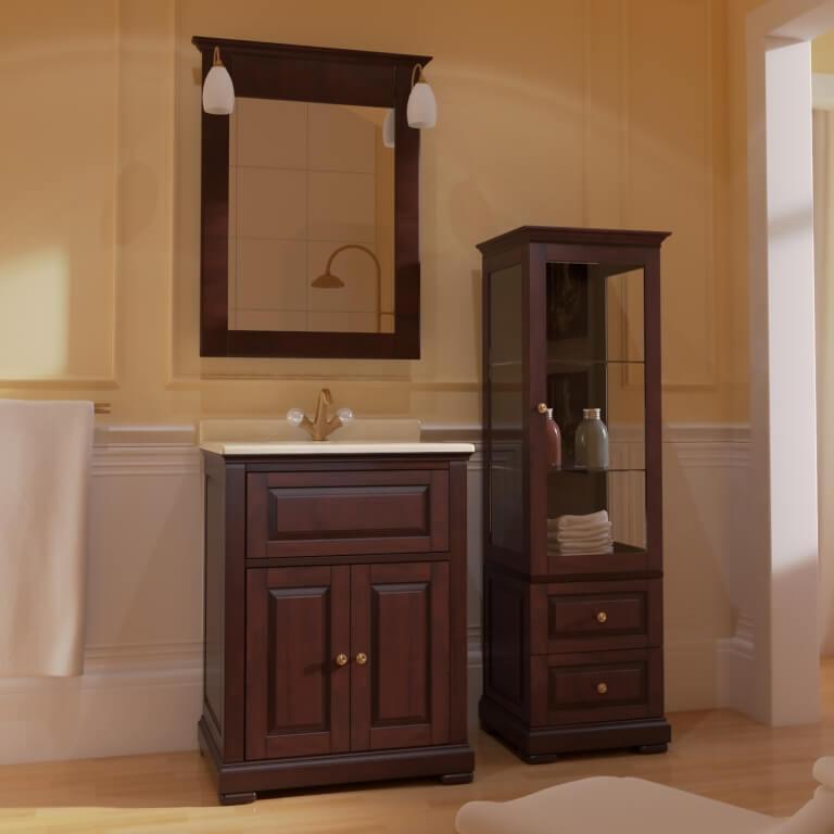 Комплект мебели для ванной комнаты в ореховом цвете Марсан Дезаир