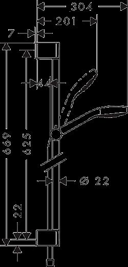 Схематическое изображение и размеры душевого набора HANSGROHE CROMA SELECT E (26582400)
