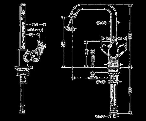 Чертеж-схема смесителя для кухни HANSGROHE ECOS L (14816000)