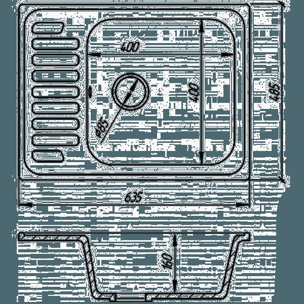 Чертёж-схема гранитной мойки Фосто 64X49 SGA-420 (черный) (14023)