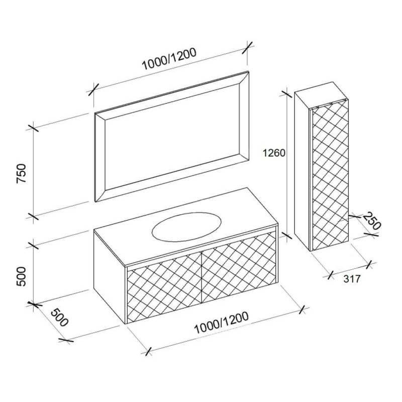 Размеры и схемы комплекта для ванной комнаты Вирджиния-2 Марсан