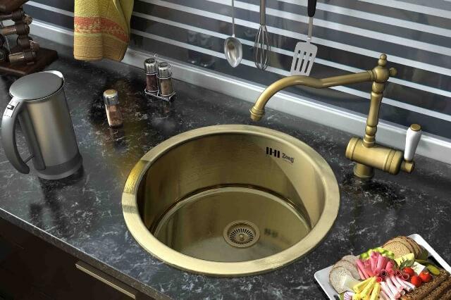 Классические мойки для кухни выполнены в бронзовом или цвете латунь