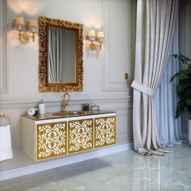 Тумба в ванную комнату с раковиной и зеркалом, комплект VINCENT (Винсент) Марсан, купить в Киеве