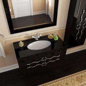 Неповторимые формы тумбы для ванной комнаты и зеркала Марсан Доминика