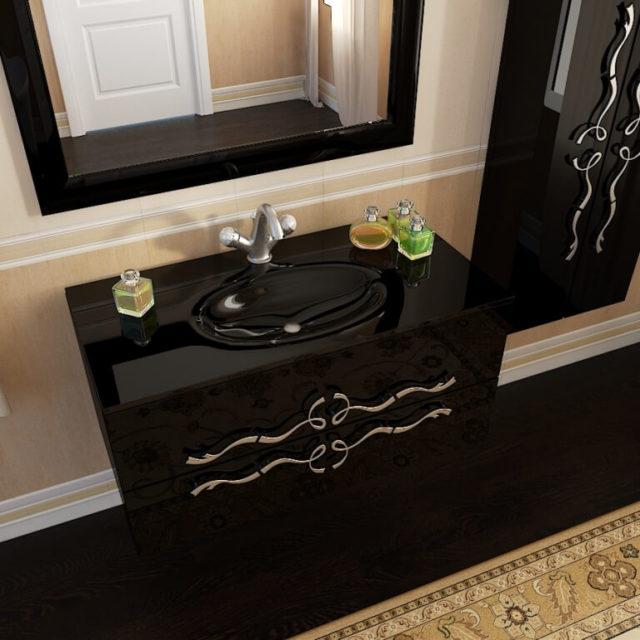 Купить подвесной комплект мебели для ванной комнаты со стеклянной столешницей и раковиной