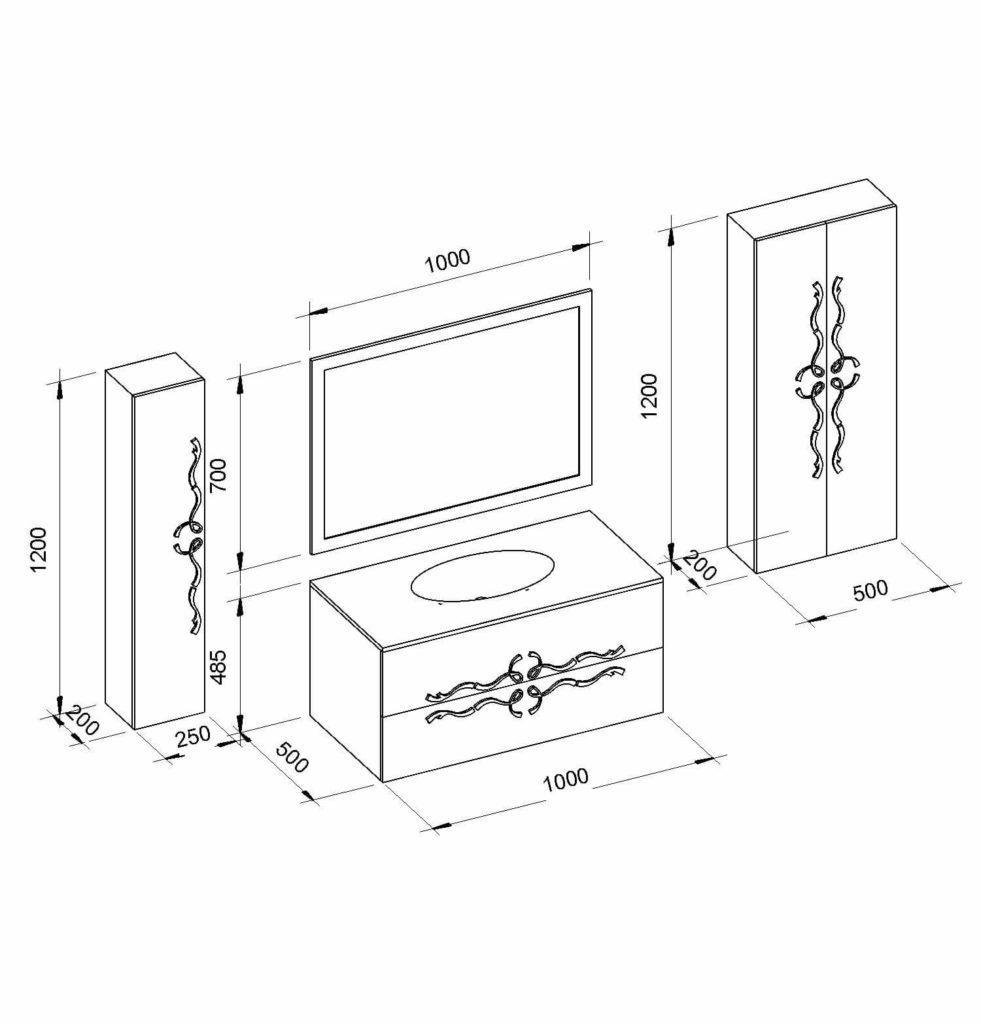 Чертежи и схематическое изображение комплекта мебели Доминик (Dominik) Marsan