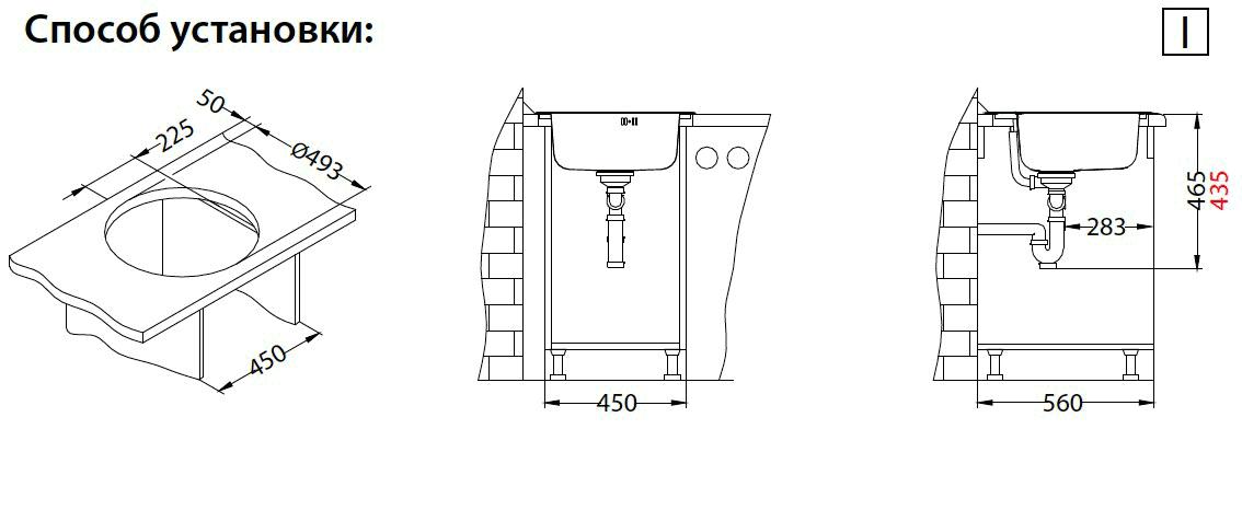габаритные размеры и расстояния для монтажа круглой модели моек Monarch Form 30