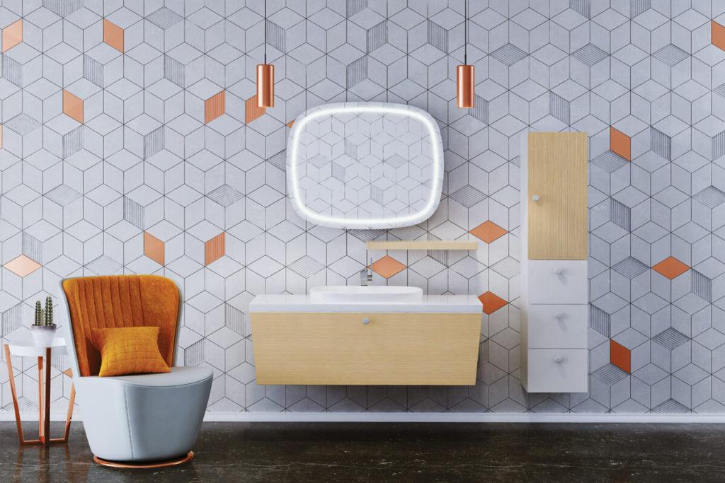 Купить мебель для ванной комнаты, современный модерн комплект Trapez (Трапез) Balteco (Балтеко)