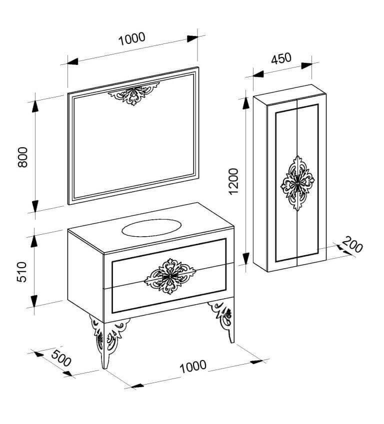 Комплектация и чертёж с размерами гарнитур в ванную комнату «CHRISTINE» Marsan