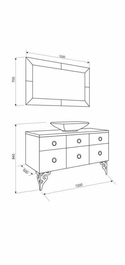 Размеры, схема и комплектация гарнитура Мишель«MICHELE» Марсан