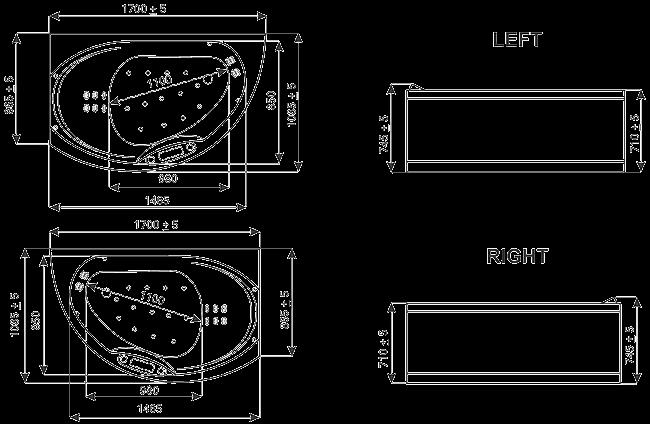 Роскошная ванна в чертежах NOSTALGIA (Ностальгия) Right/Left (правая/левая) WGT, купить в интернет-магазине