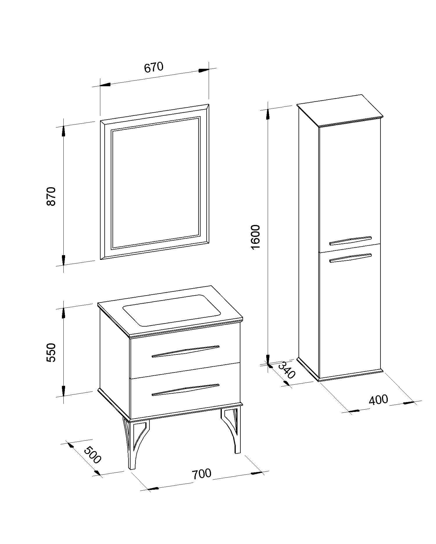 Изготовление мебели в ванную под заказ «CASSANDRE» (Кассандра) Марсан (Marsan)