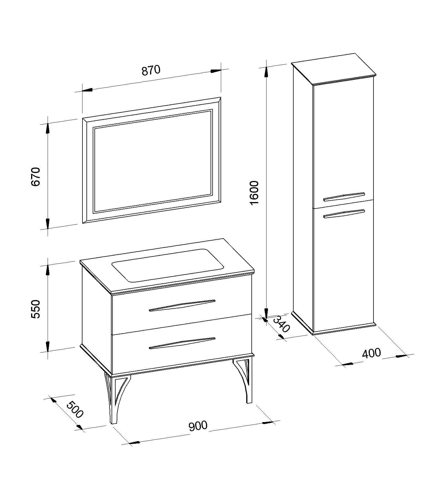 Мебель в ванную под заказ «CASSANDRE» (Кассандра) Марсан (Marsan)